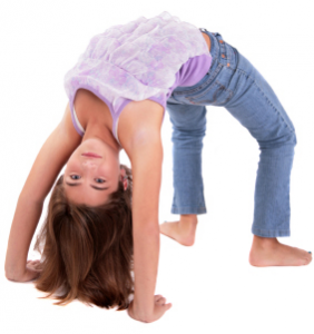 Tween girl in wheel pose, kids yoga