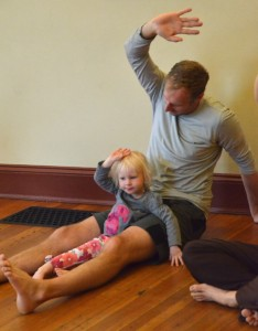 preschooler family yoga - dad and daughter