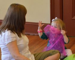 preschooler yoga, scarfs