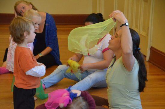 Scarf play in toddler, preschooler yoga