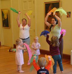 Scarf play in preschool yoga