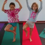 girls in tree pose, kids, camp