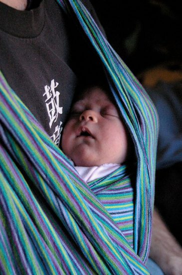 babywearing soft wrap carrier, dad, baby sleeping