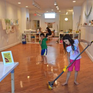 children mopping