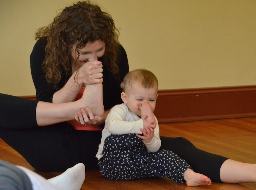 tot yoga, toes to nose