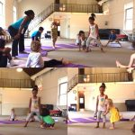 kids play yoga game at camp