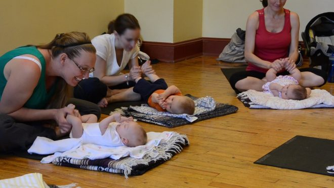 moms and babies in yoga class