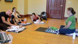 Rebecca Gitter teaches baby yoga class