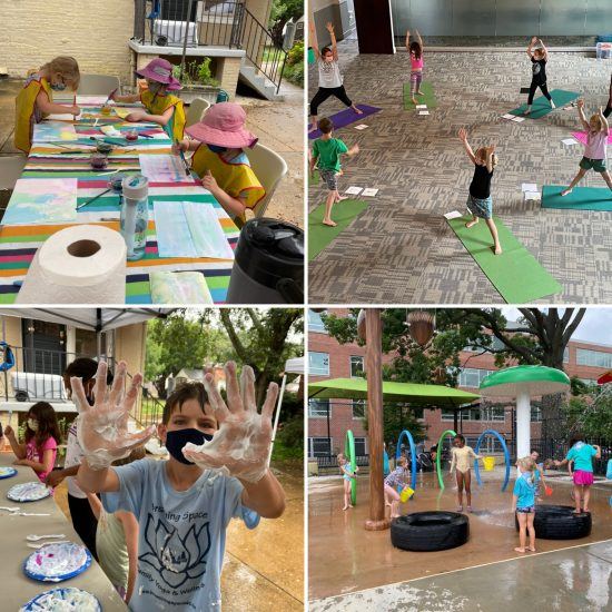 collage of camper activities - art projects and yoga