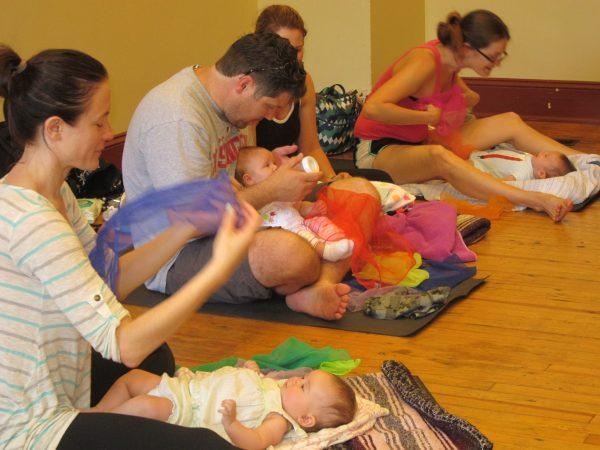 baby yoga class, scarf play