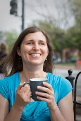 Kim Hawley - headshot with coffee cup