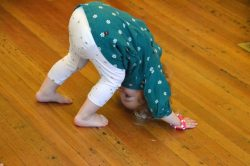 preschooler yoga class, down dog