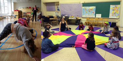 afterschool yoga with parachute, kids yoga