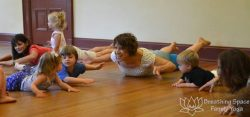 Amalie teaching Little Families, preschooler yoga