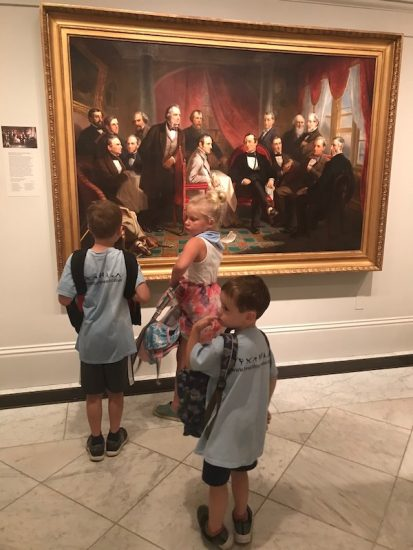 campers on a field trip to the portrait gallery