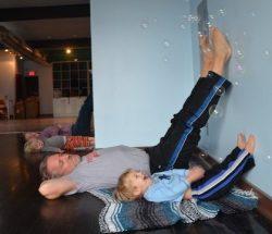 preschooler yoga, bubbles
