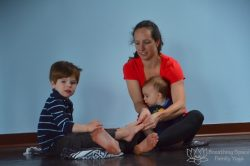 family class foot massage, preschooler yoga