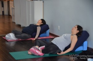 prenatal moms in savasana