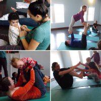 family yoga collage