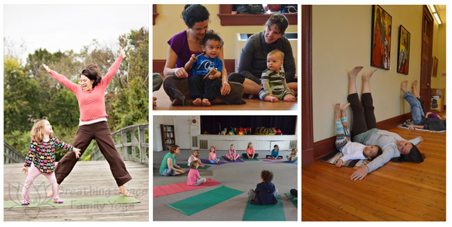 kids and family yoga collage