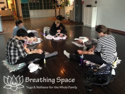 Moms learn infant massage with their babies