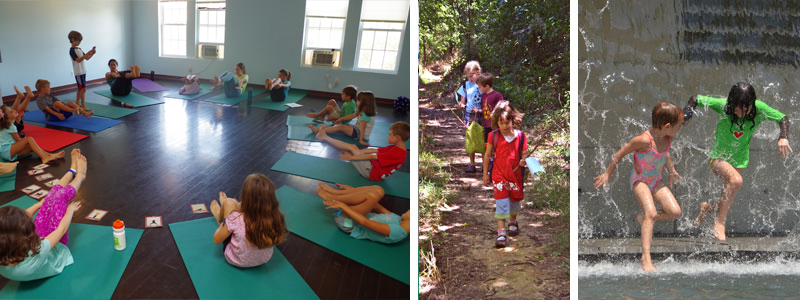 collage of kids yoga summer camp