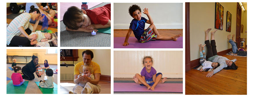 collage of kids and family yoga classes